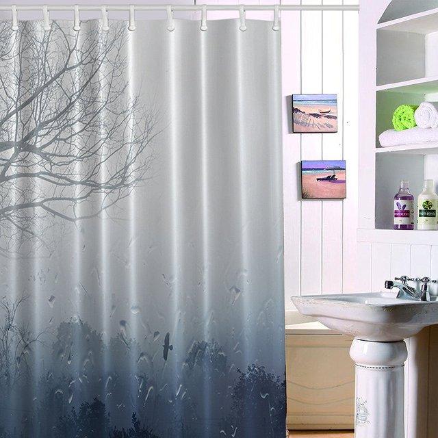 Shower Curtain Long Mildew Antibacterial Odorless Waterproof 3D Curtains For Bathroom Premium