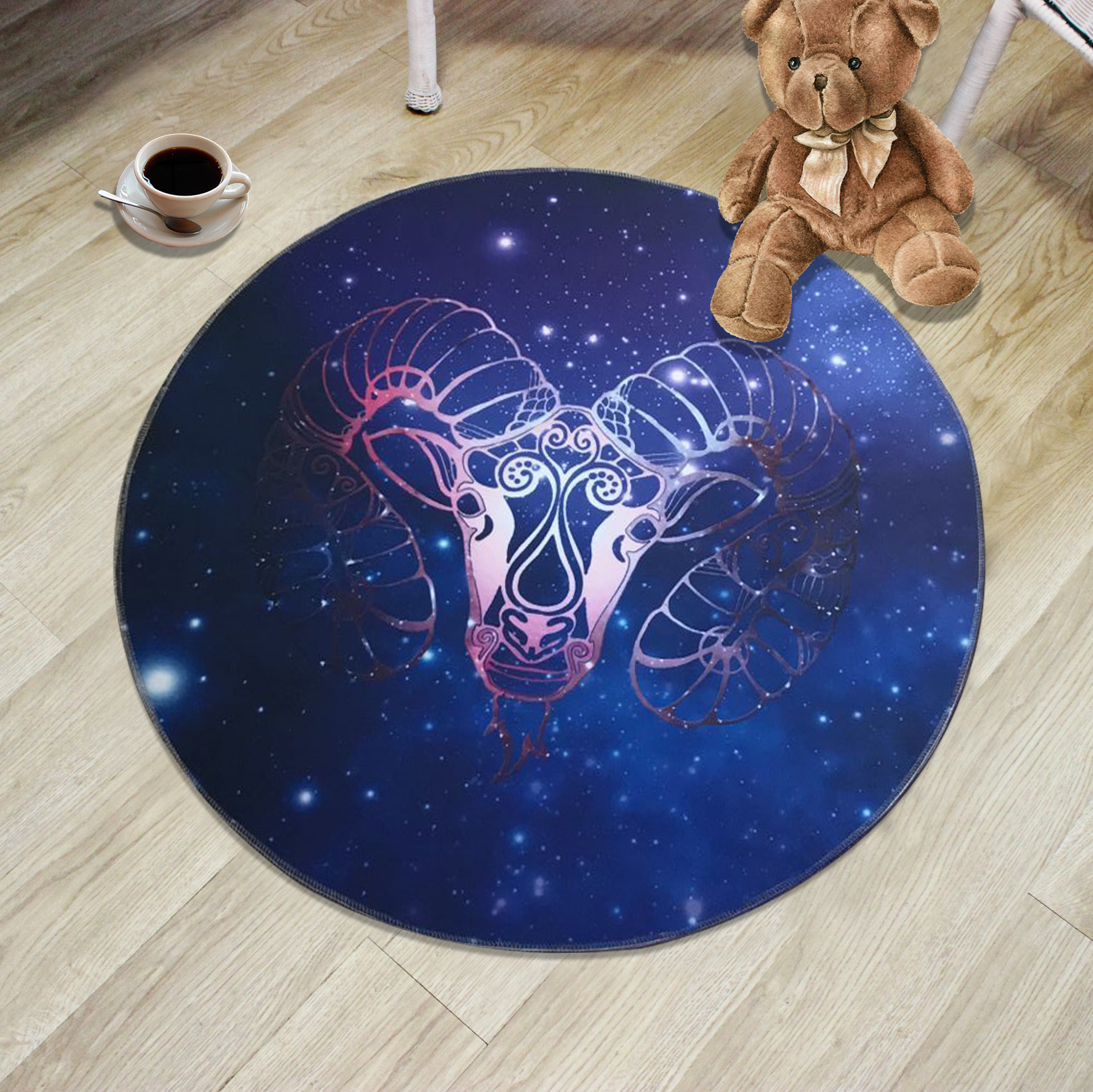 Creative 12 Constellation Round Carpets For living room bedroom Kids Cartoon computer chair Floor mat Modern Home Decor Carpet