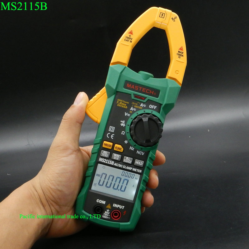 Digital Clamp Mete MASTECH MS2115B AC/DC with 6000 Counts NCV True RMS Multimeter Voltage Current Tester Detector with USB mastech ms8250c autoranging digital multimeter true rms low pass filtering 6600 d a display ncv usb data transmission