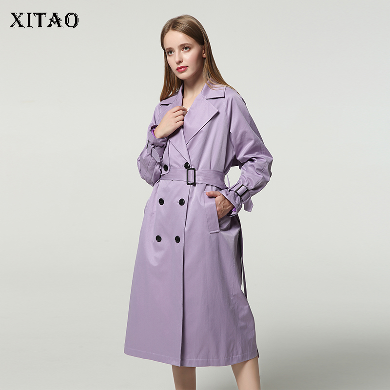 XITAO Plus Size Women   Trench   Korea Fashion Wide Waisted Double Breasted Turn Down Collar Temperament Long Casual WLD1201