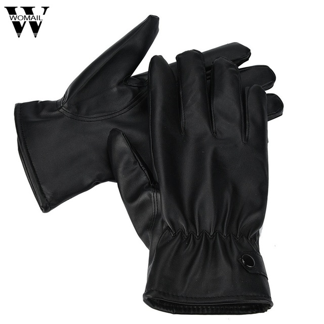 WOMAIL Men Fashion Warm Cashmere Leather Male Winter Gloves Driving Waterproof jan30/P