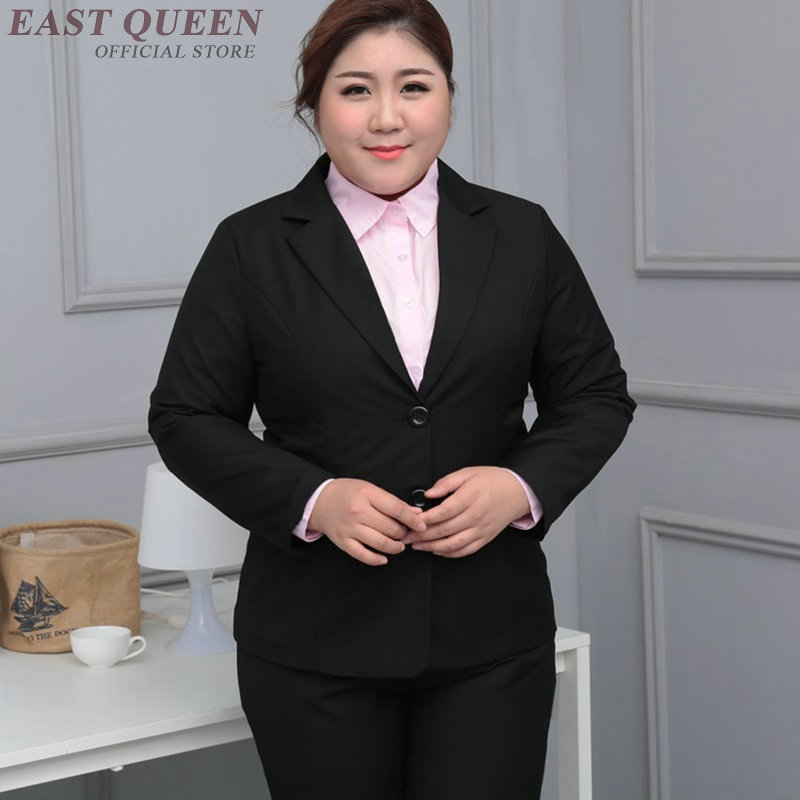 Surdimensionné blazer pantalon costume femmes femme d'affaires, plus grande taille uniformes pour le travail de bureau KK2205 Y