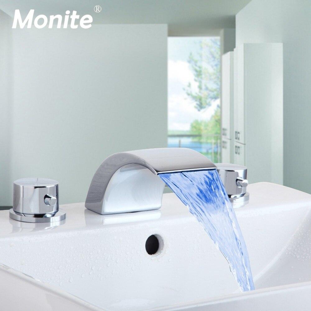 Monite Polish Chrome Waterfall Bathroom Faucet LED Roman Spout Vanity Sink Mixer Tap 2 Handles Wash