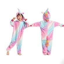 Купить с кэшбэком Unicorn Pyjamas Flannel Kids Boys Girls Pajamas Onesies Children Cartoon Cosplay Sleepwear Animal Starry Sky Pegasus 4-12 Year