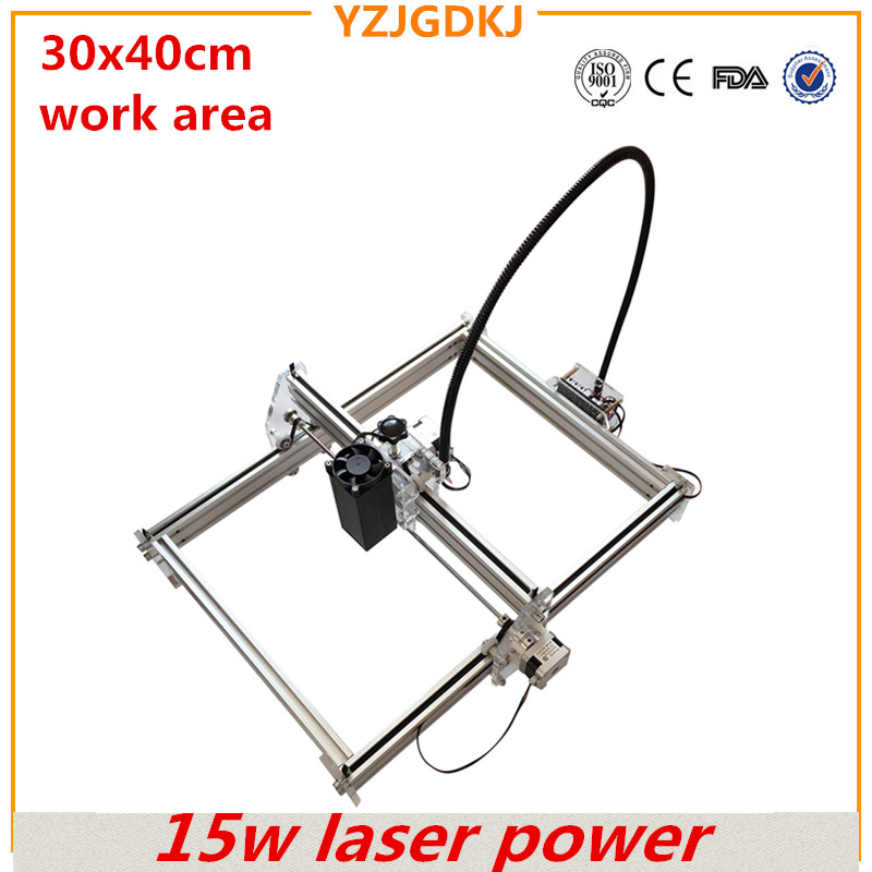 15w laser 3040 diy laser engraving machine working area 30*40cm laser engraver cutting machine for a toy mark on metal free ship by dhl 1pc 300mw toy level diy laser engraving machine working area 30x40cm laser engraver