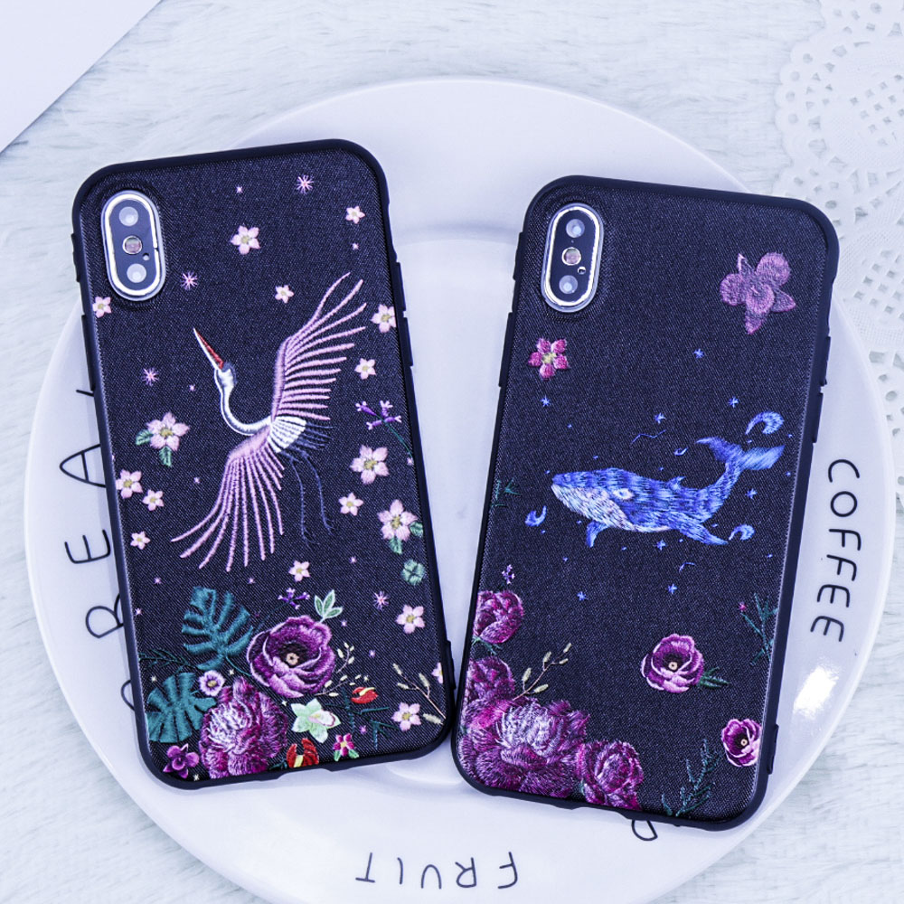For iphone 6 case Luxury Flying birds Phone case For iphone 7 case Cute Dolphin Pattern phone back cover coque For iphone X case