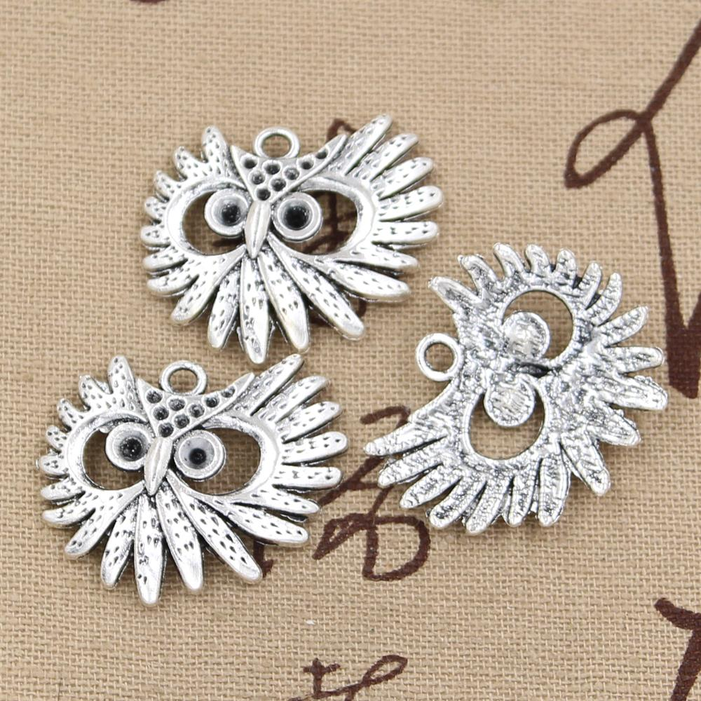 50pc Retro Tibetan Silver Charms 2-Sided Owl Accessories Bead Wholesale