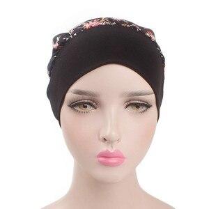 Image 3 - イスラム教徒の女性弾性プリントコットンターバン帽子スカーフ事前縛らがん化学ビーニー帽子ヘッドラップメッキヘアアクセサリー