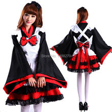 Adult Japanese Kimono Cosplay Dress Lolita Anime Maid Uniform Outfit Party