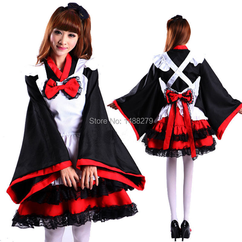 New Japanese Kimono Dress Cosplay Maid Dress <font><b>Lolita</b></font> Dresses Carnival/Halloween Costumes for Women Adult Costumes image