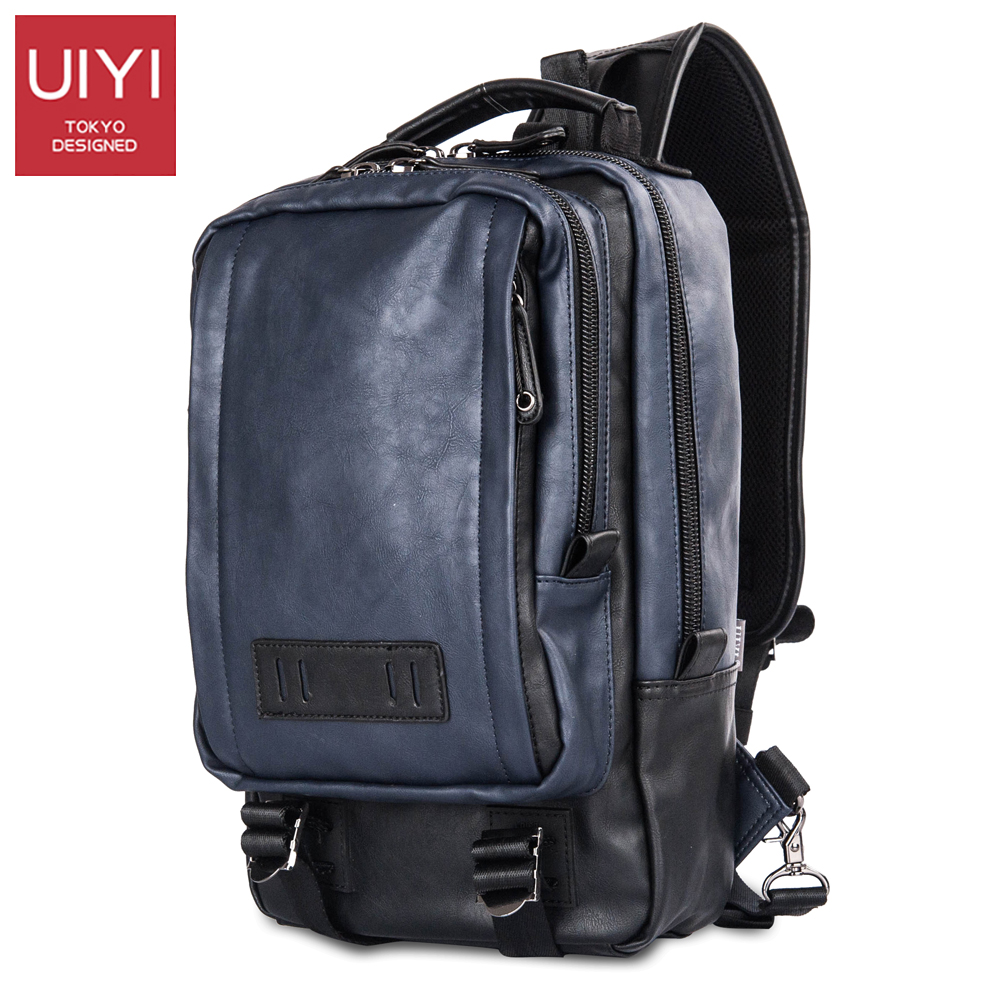 UIYI Men Chest bag PU leather Navy blue Shoulder Crossbody Bag Male handbags Travel Satchel Bags Clutch Bag for men #UYX16011 casual canvas satchel men sling bag