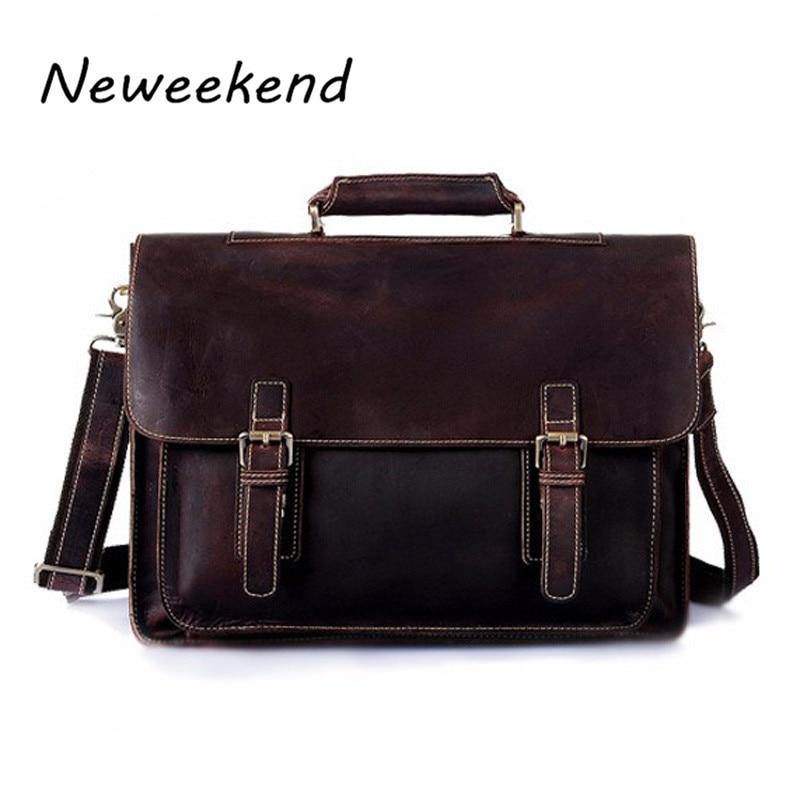 Genuine Leather Men bag Briefcase Leather Briefcase Portfolio 14