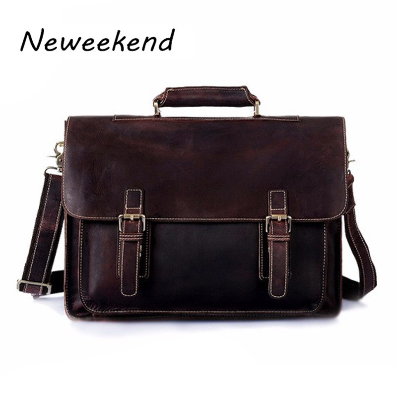 Genuine Leather Men bag Briefcase Leather Briefcase Portfolio 14 Laptop Bag Mens Messenger Bags mens travel bags Handbag 6912 ...