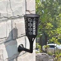 Integrated LED Solar Flame Torch Wall Lawn Pillar Light Outdoor Waterproof Garden Lamp Landscape Backyard Street Lighting Decor