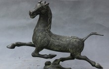"23"" Ancient China Dynasty FengShui Bronze Ma Ta Fei Yan Horse On Swallow Statue(China)"