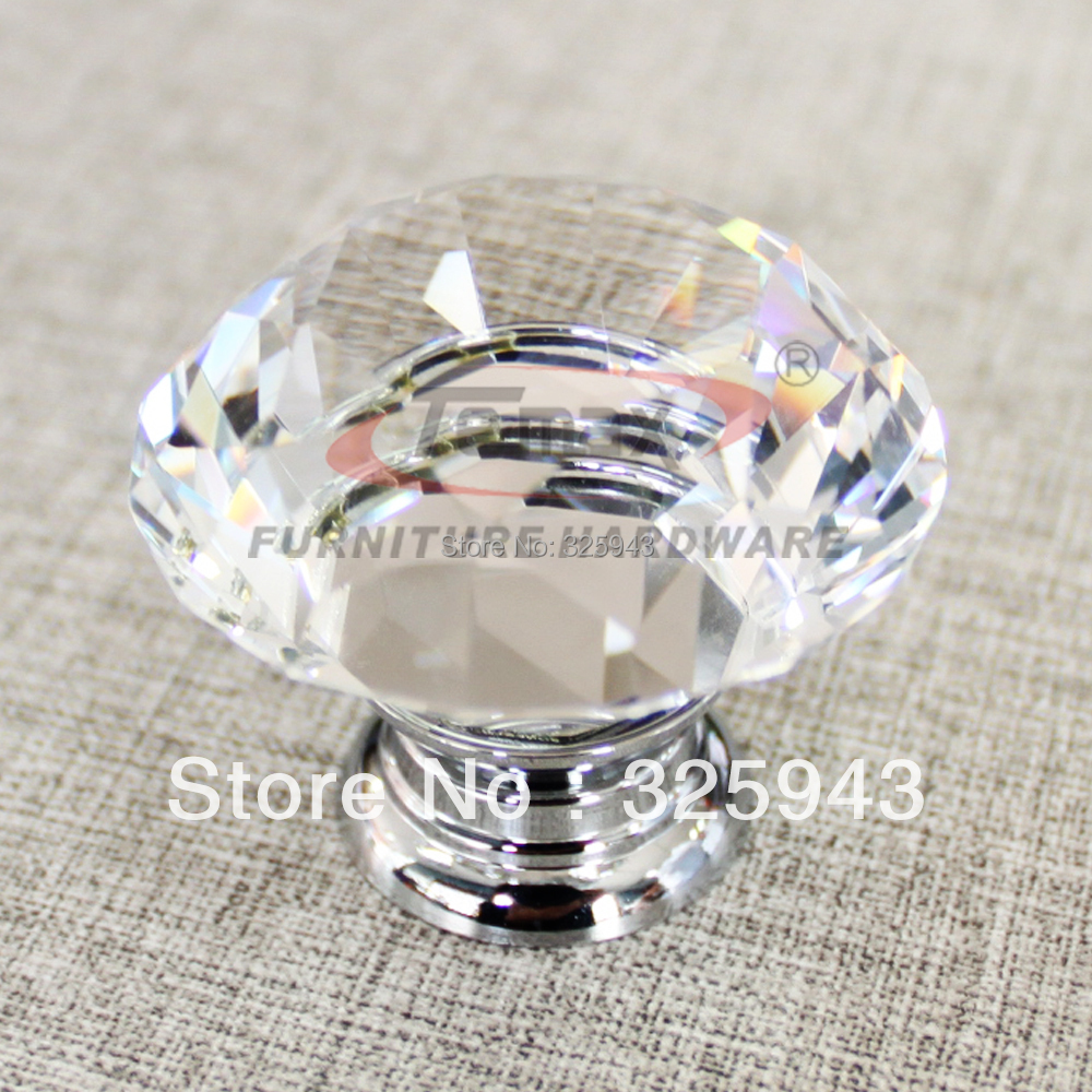 5pcs 30mm Zinc Alloy Clear Glass Crystal Knobs And Handles