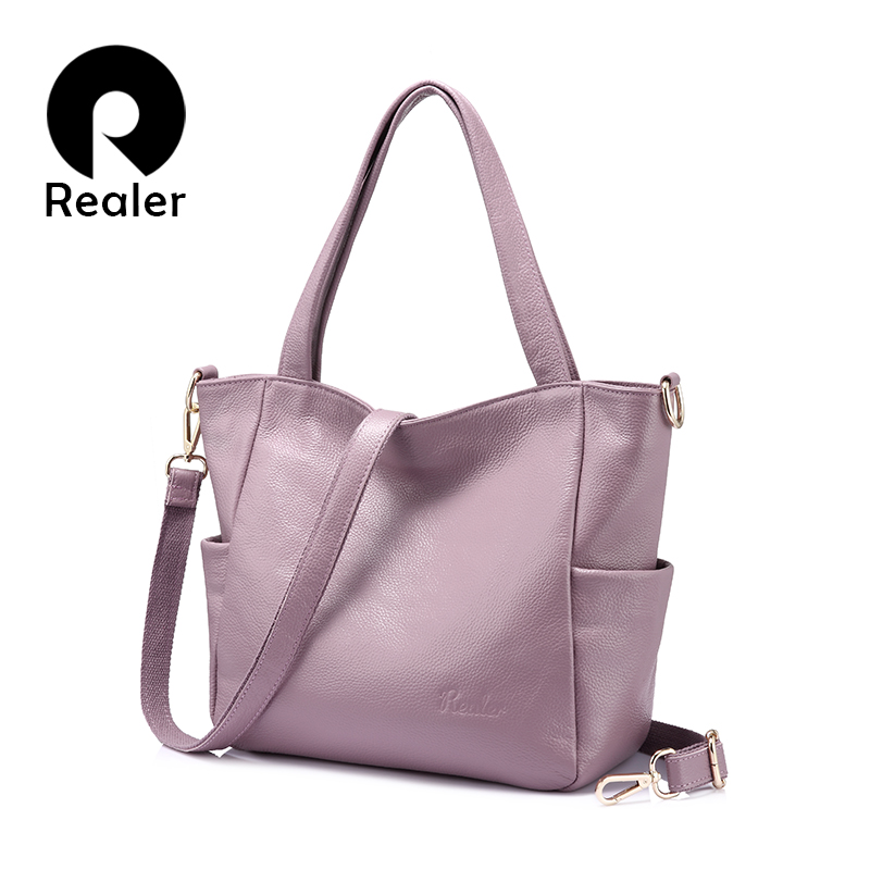 REALER women shoulder bags for 2018 genuine leather crossbody bag for women casual totes high quality