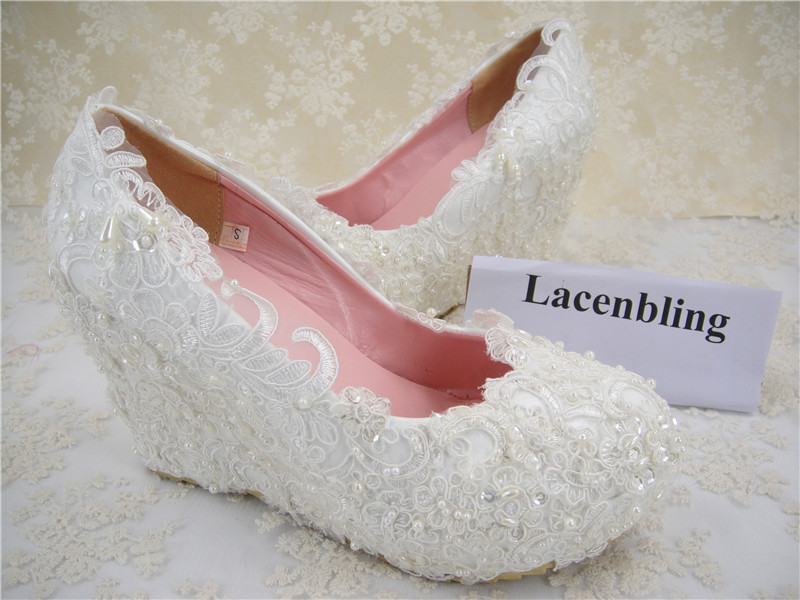 ba73821dd48d Lace Bridal Shoes  Women s Wedding Shoes  Wedges Lace Shoes Round Toe Bridal   White Pearls Shoes  4 inches Heel  Size 4 11-in Women s Pumps from Shoes on  ...