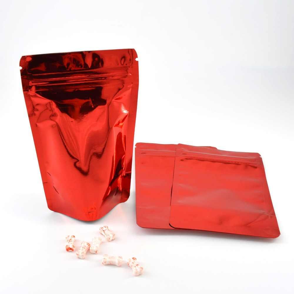100 Uds de pie lámina con cierre Zip bolsas de papel de aluminio de pie bolsas de almacenamiento de alimentos de pie bolsas con cierre envío gratis
