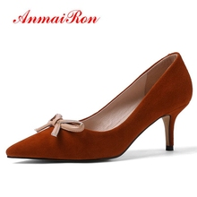ANMAIRON   Kid Suede  Pointed Toe  Casual  Zapatos De Mujer Women High Heel Pumps  Basic  Shoes Woman Size 34-39 LY1408 gaozze suede leather lovely bowknot women s pumps shoes pointed toe thin high heel 10cm nude color zapatos de mujer 2018 spring