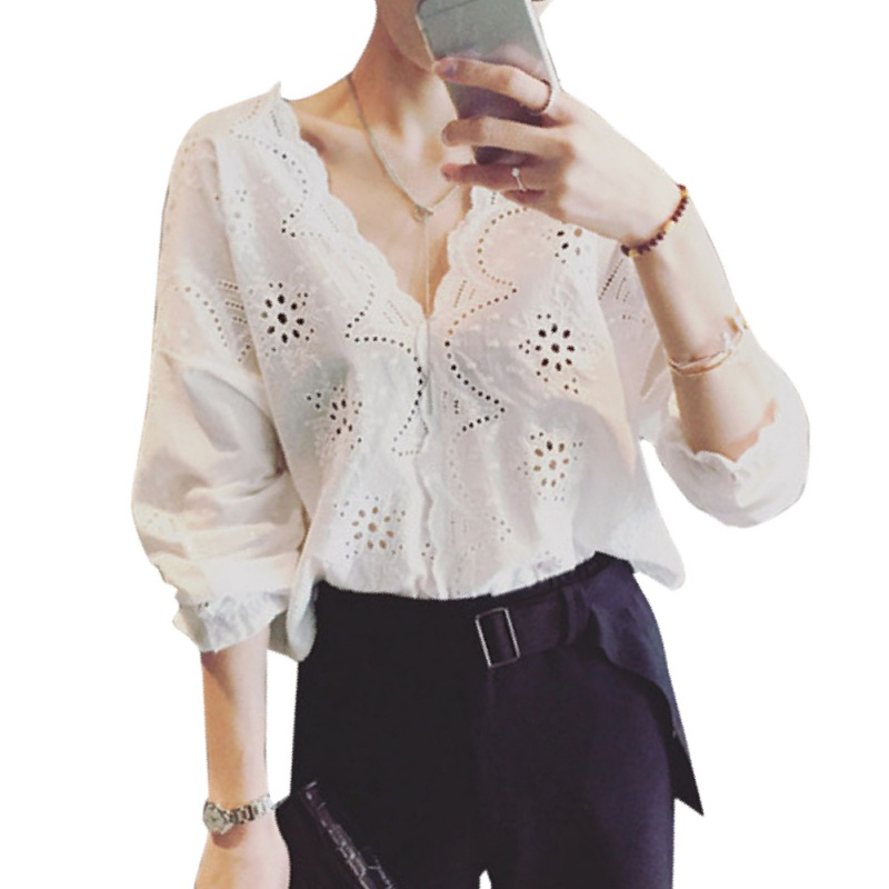 women Blouses Shirt White Half Sleeve Streetwear Hollow Out Lace Top Neck Floral Embroidery Shirt Women Long Sleeve Cotton Shir
