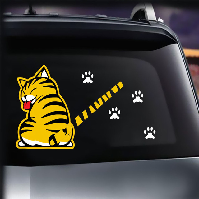 Cartoon cat moving tail paws sticker window reflective sheeting 3d car decal rear wiper funny outside