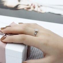 8d6439aec61e 925 mujeres de plata esterlina brazalete anillo cuatro de hoja de  trébol-con circón cúbico anillo de la suerte para las mujeres .
