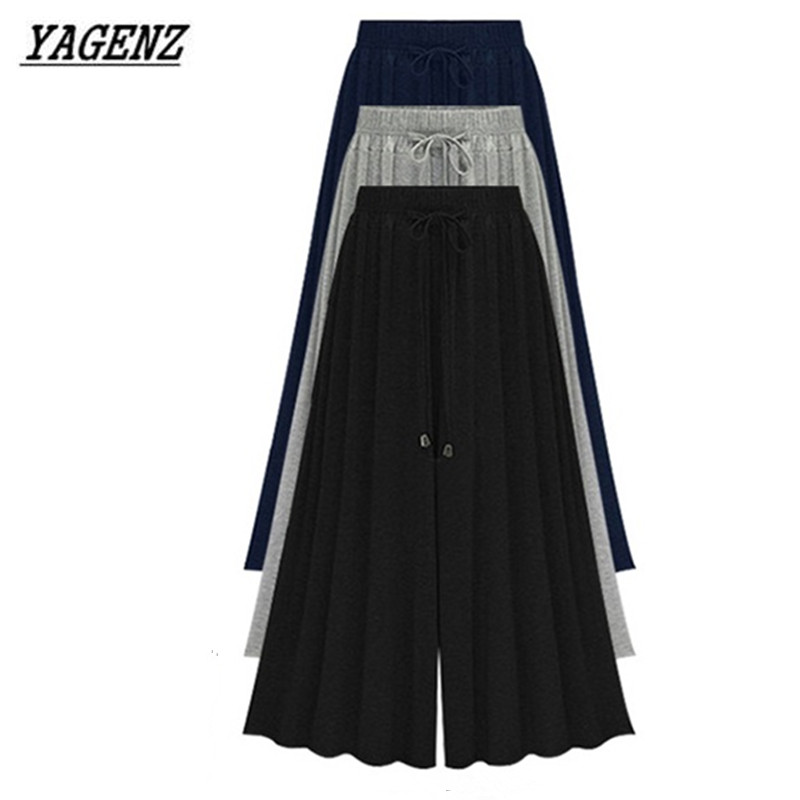 YAGENZ 2020 Spring Summer Large Size Ladies High Waist Stretch Wide Leg Pants Fashion Loose Casual Seven Yards Pants Skirt M-8XL