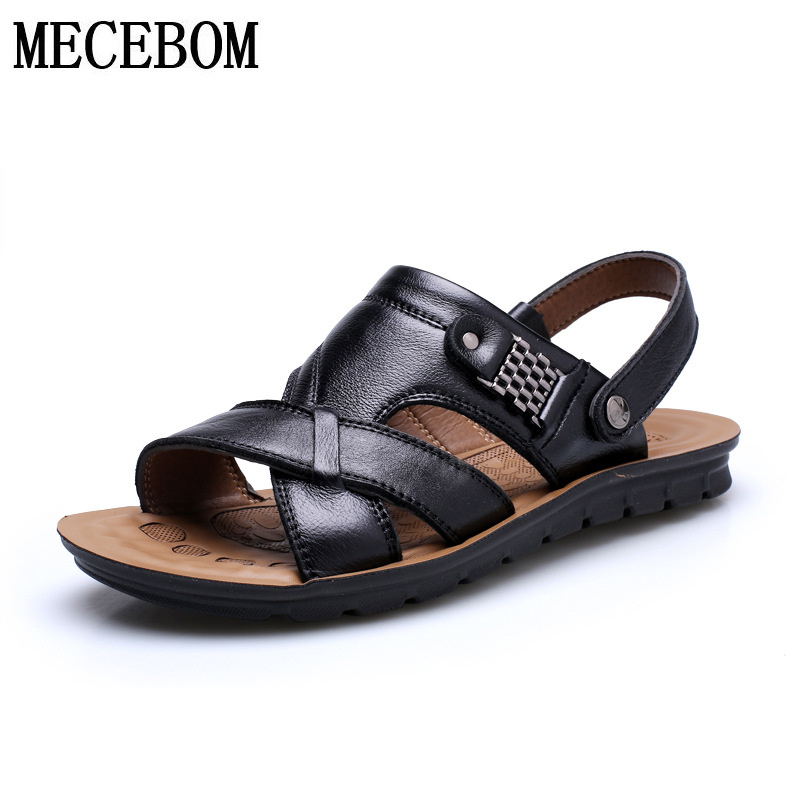 Men's summer sandals hot sale brand leather casual sandals slip-on flats fashion two-wear men footwears BIG Size 38-46 082m