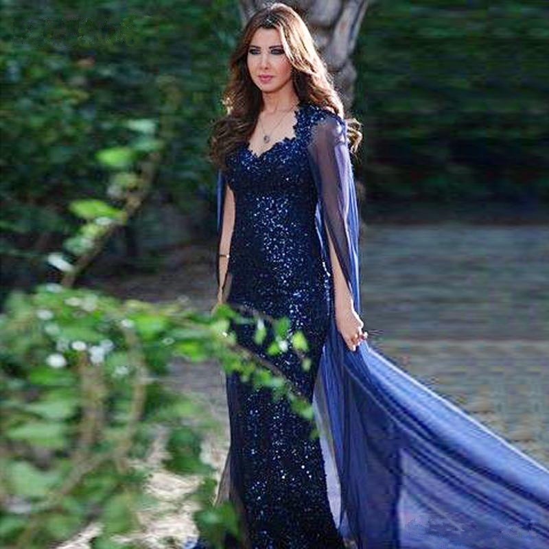 Luxury Royal Blue Sexy Sequin Evening Dresses Mermaid Evening Gown With Cape  robe de soiree abendkleider 884c576153e2