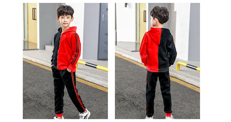 4d970983a256b Satın Al Kadife Patchwork Çocuk Giyim Setleri Boys 2 Adet Kapşonlu ...