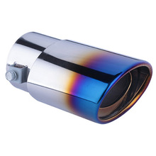 DSYCAR 1 Pcs Roasted blue Stainless Steel Car Exhaust Pipe Tail Muffler Tip cover for Car-styling decoration accessories DIY