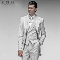New Style Fashion Slim Fit Groom Tuxedos Best Groomsmen Men Wedding Suits Bridegroom Suits Custom Made (Jacket+Pants+Vest)