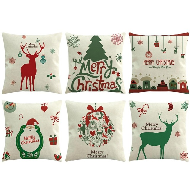 christmas decoration for home xmas decorative pillow case snowman christmas cotton linen cushion cover home decor - Christmas Decorative Pillows