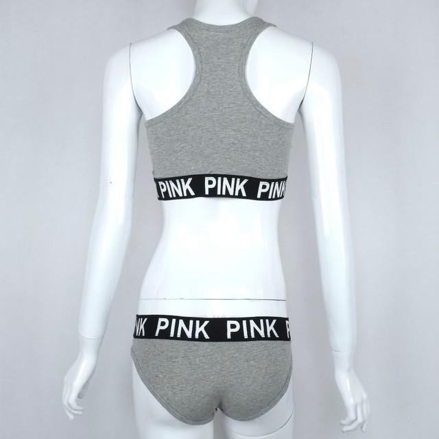 Women sexy underwear Fashion fitness workout Seamless 2017 pink bra set cotton Vest Women Stretch Briefs lady Sexy lingerie