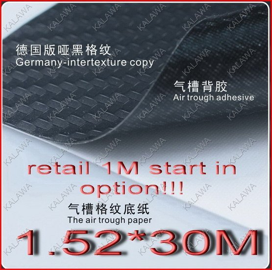 1.52*1M Germany-intertexture completely matt black 3D carbon fiber self adhesive vinyl air channel-Freeshipping