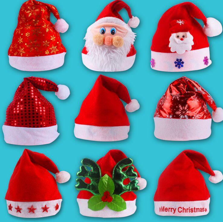 Bright Christmas Hat Adult Child Cute Santa Claus Caps