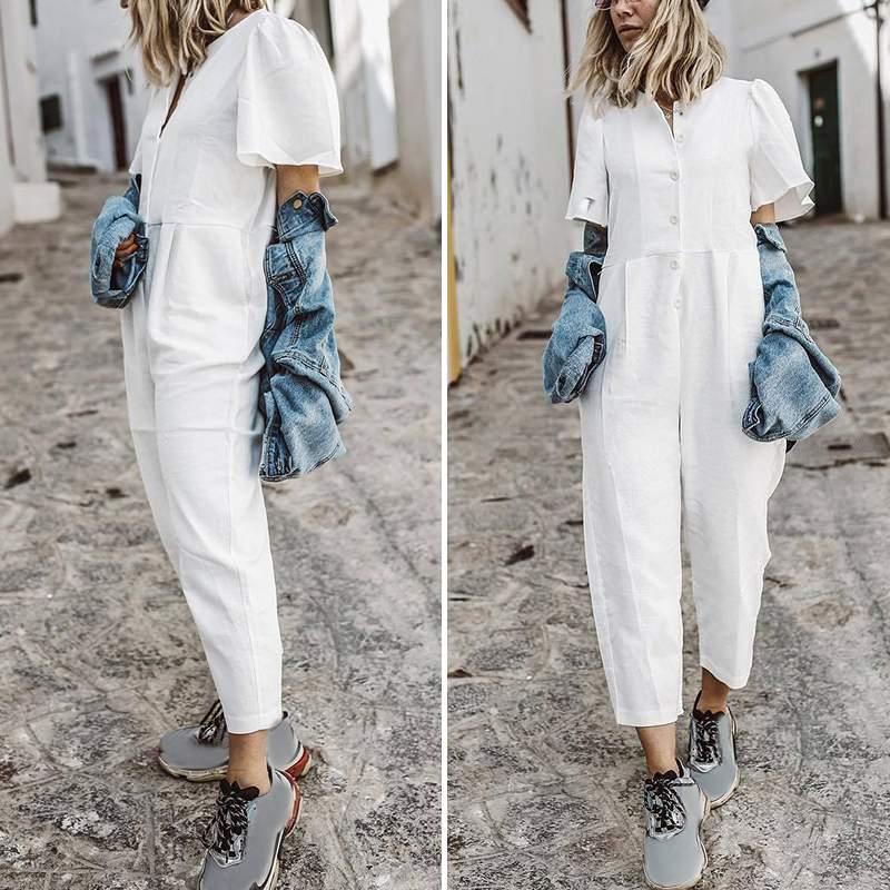 VONDA Rompers Women Jumpsuit Casual Women Sleeveless Solid Color Wide Leg Cotton Linen Overalls Playsuits Plus Size Pantalon 5XL