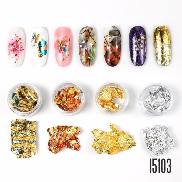 4 Color Nail Gold Foil Anese Art Jewelry Crystal Light Therapy And Silver