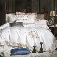Juego de ropa de cama de lujo real de algodón egipcio 1000TC juego de cama de bordado de tamaño rey blanco lit