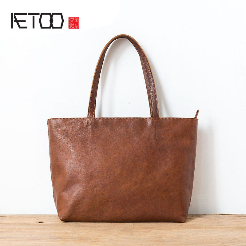 AETOO Women's Tote Bag Vintage Leather One-Shoulder Shopping Bag Large Capacity Simple Casual Handbags Wild aetoo leather shopping bags handbags large bag first layer of leather ladies shoulder bag fashion casual tote bag hit color hand