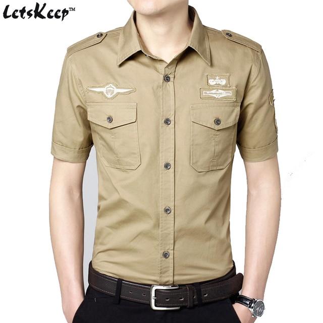 31b170cf2b7 2017 Letskeep New Mens air force one shirt short sleeve casual military shirt  men summer slim