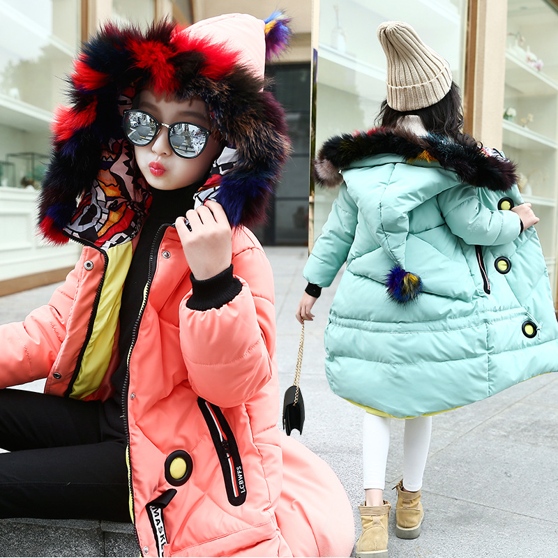 Retail 1Pcs Girls Winter Colorful Fur Collar Hooded Cotton-padded Jacket Outerwear Girls Long Style Warm Outdoor Snow proof Coat girls fur collar hooded coat 2018 new winter girls camouflage cotton padded outerwear fashion kids butterfly print thick jacket