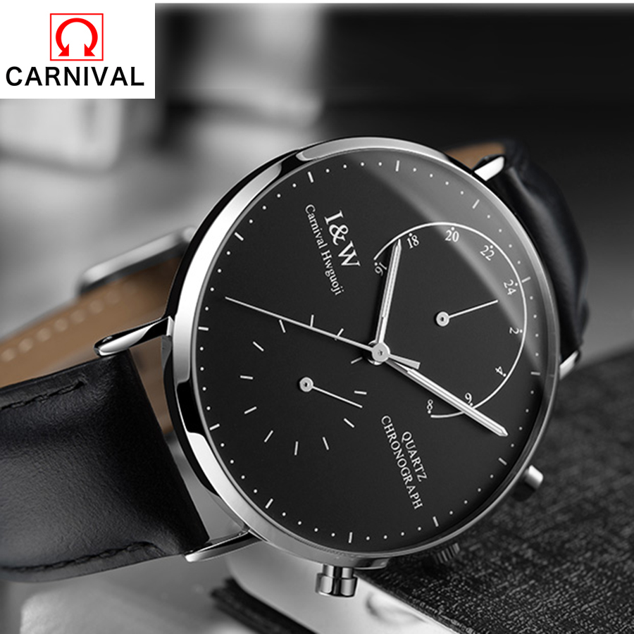 Carnival2018 Multifunction Black Leather Watches Watch Men Quartz Ultra-thin Dial Waterproof Stainless Steel Multiple Time Zone