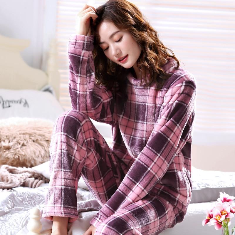 Warm Pajamas Female Winter Thick Women Pajamas Set Flannel Pyjamas Women Long Autumn Pajama Woman Two Pieces Homewear Sleep XXL in Pajama Sets from Underwear Sleepwears
