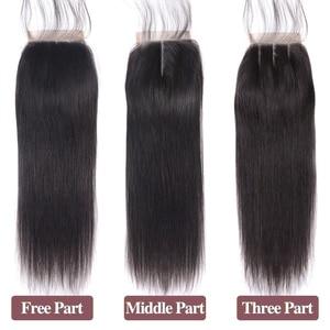 Image 5 - Lanqi ישר שיער חבילות עם סגירת שיער טבעי מארג 2 4 חבילות עם סגירה פרואני שיער חבילות עם סגירת שאינו רמי