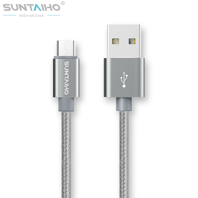 Suntaiho 1M/2M/3M Nylon Metal Micro USB Cable Fast Charg 5V/2.1A /8pin USB Cable for iPhone 6 6s Plus 5s 5 iPad mini / Samsung