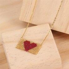 Trendy Miyuki Beads Heart Necklace Women Girl Handmade Weave Charm Choker Necklaces Female Friendship Love Jewelry Bijoux