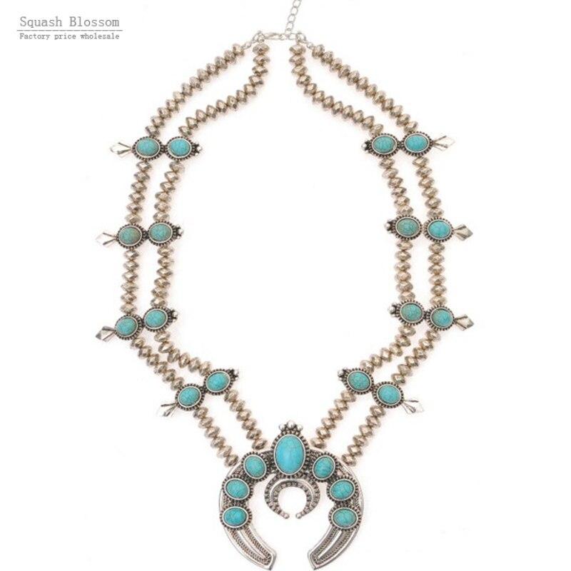 Flores de abóbora colar de prata Do Vintage colar de jóias preto azul flor squash Squash blossoms