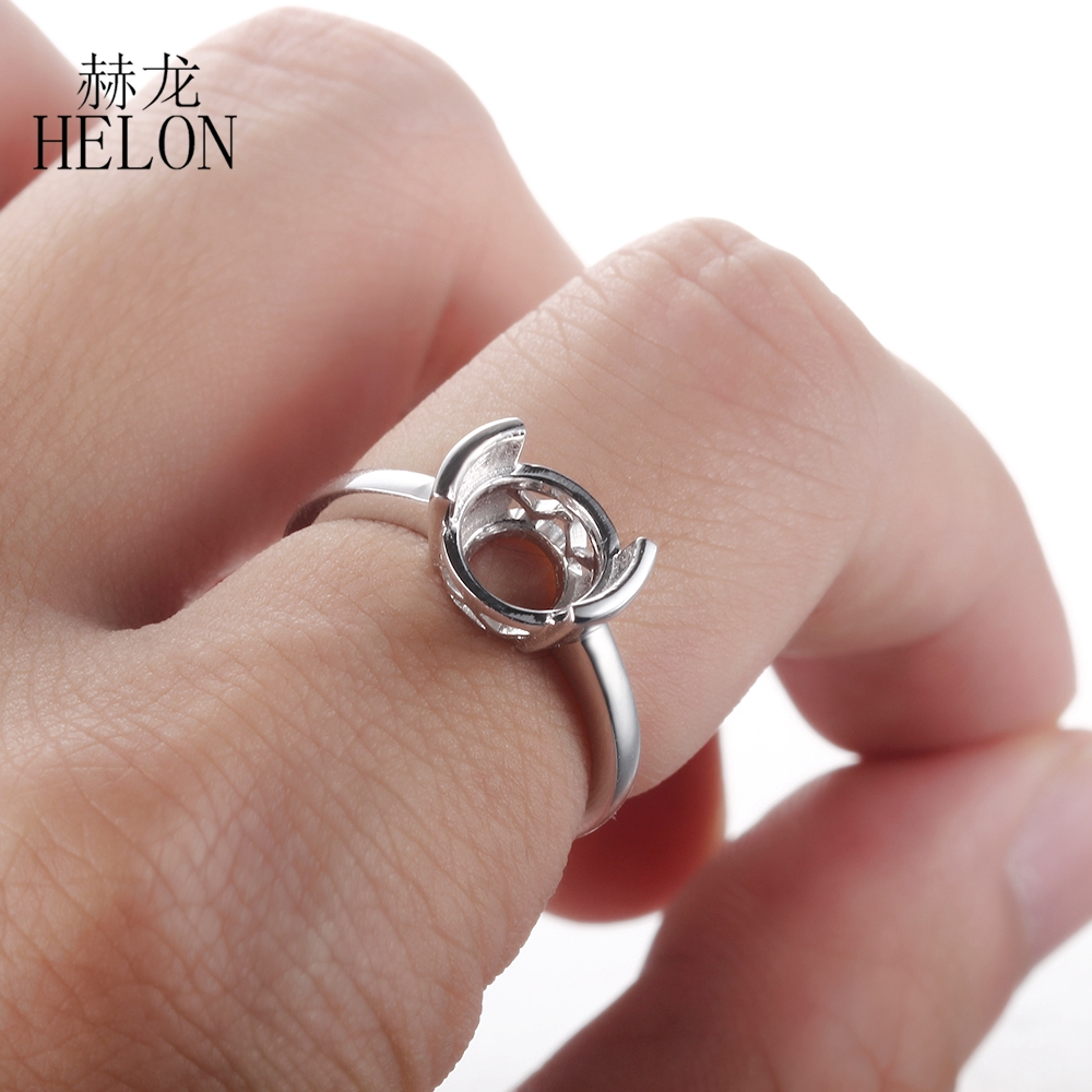 HELON Solid 10K White Gold Tension Set 8.5 9.5mm Round Shape ...